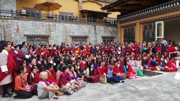 Chögyal Namkhai Norbu teaching at Hotel Taj, Thimphu. Photo V.Bianchini