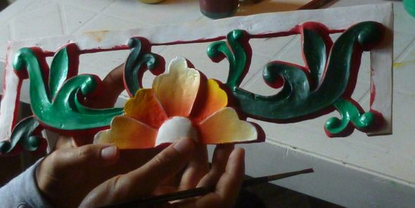 Painting one of the decorations