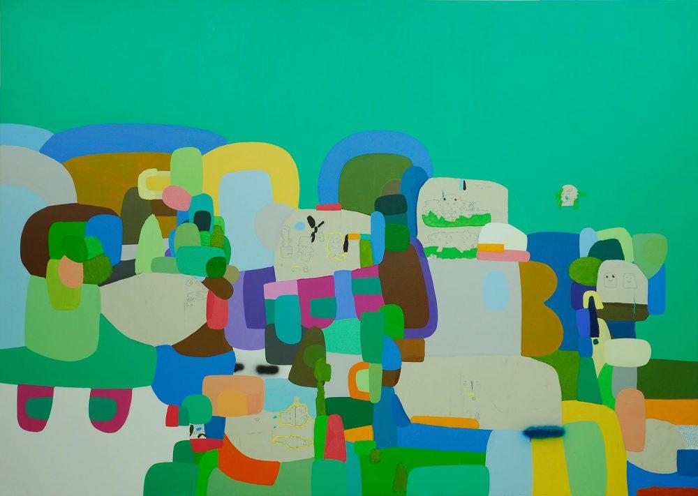"""""""Letras y números"""" 2005, 250 x 200 cm, pintura sobre bastidor, óleo, acrílico, marcador indeleble y spray ."""